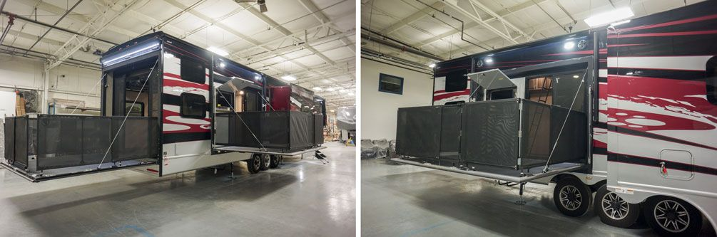 luxury toy hauler fifth wheel side patio