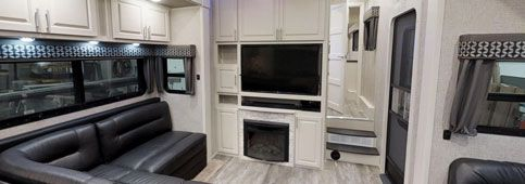 luxury toy hauler fifth wheel interior beachfront