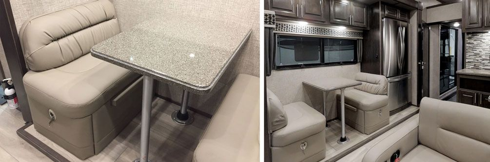toy hauler solid surface dinette