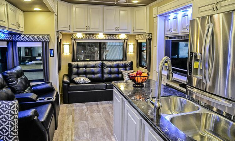 Luxe luxury fifth wheel living room