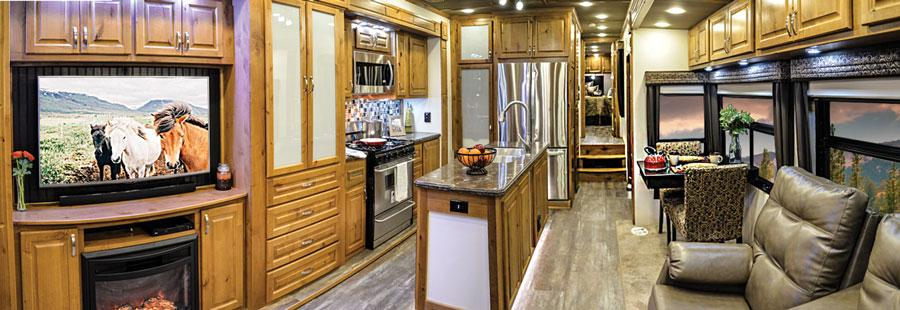 luxury fifth wheel interior kitchen countryside