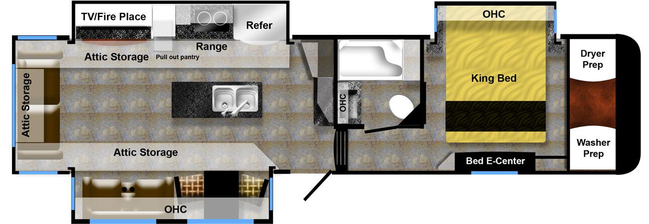 full time luxury fifth wheel floor plan