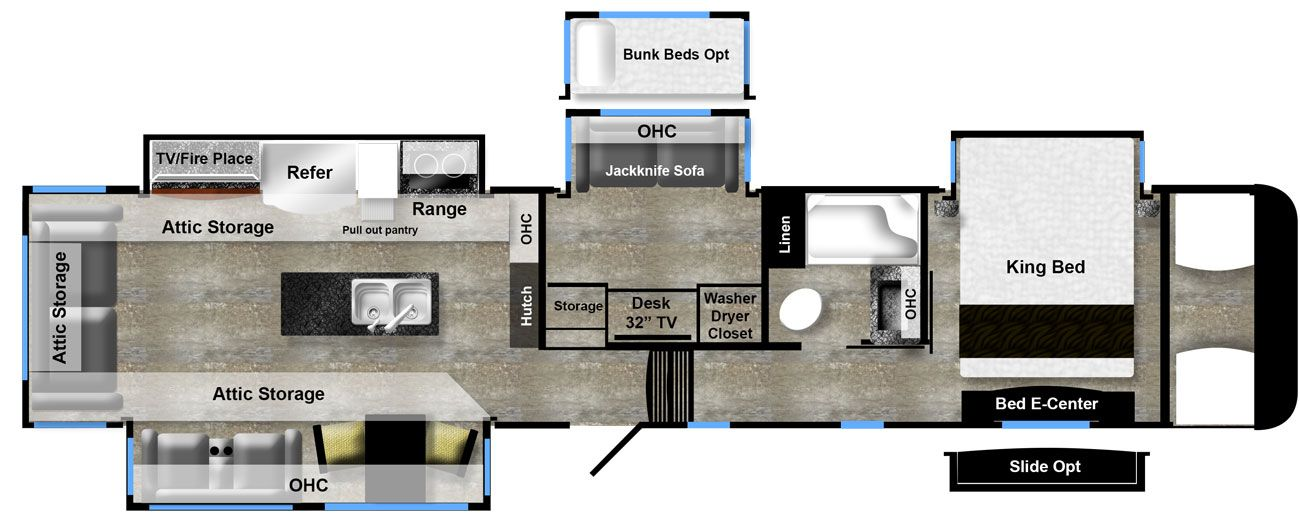 luxury fifth wheel floor plan