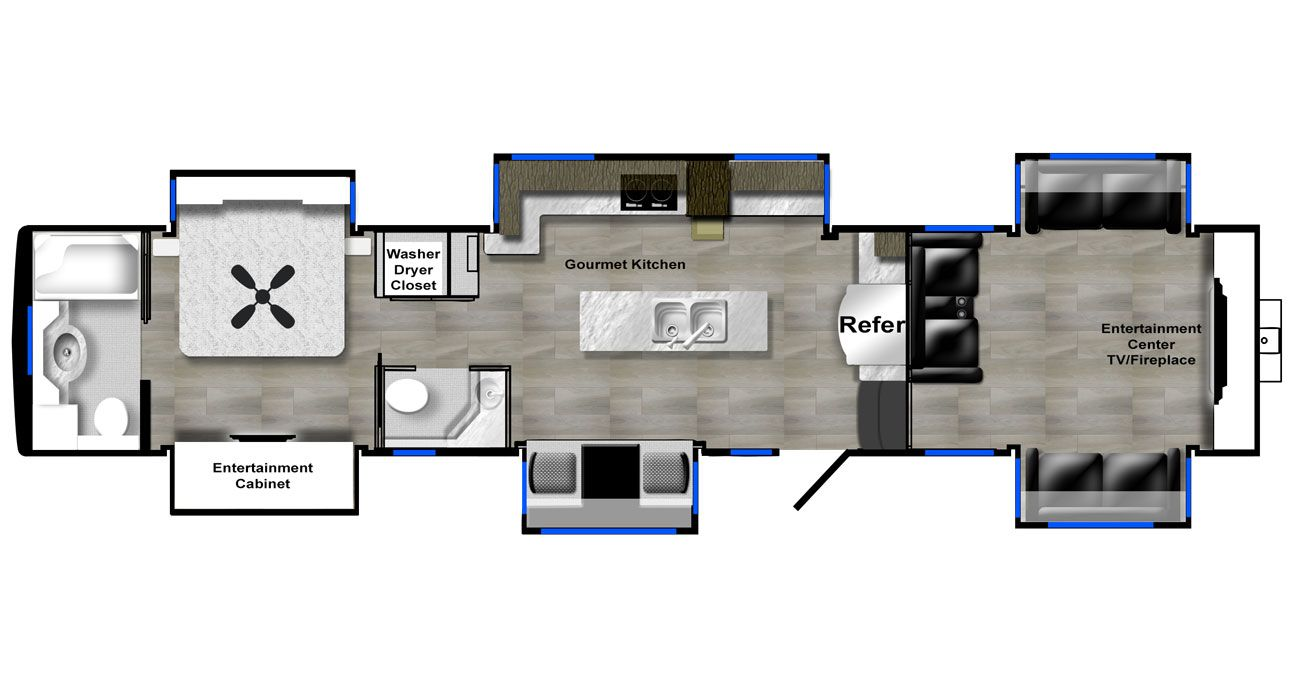 luxury fifth wheel front living floor plan