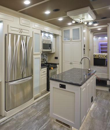 luxe luxury fifth wheel kitchen