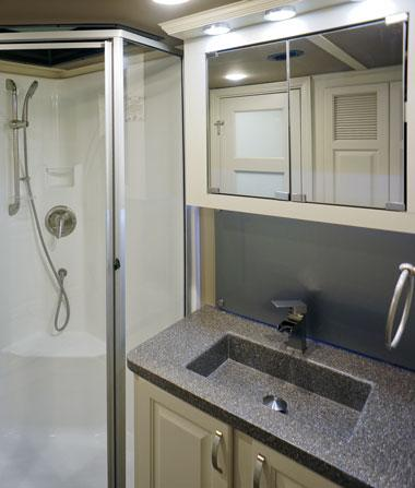 luxe luxury fifth wheel bathroom shower