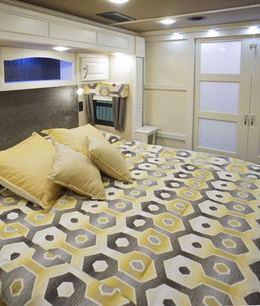 luxe luxury fifth wheel master bedroom