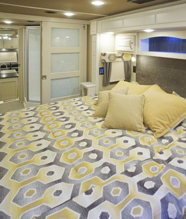 luxe luxury fifth wheel master bedroom pocket door