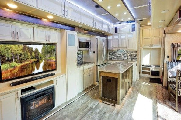 Luxe Gold full time luxury fifth wheel kitchen beachfront