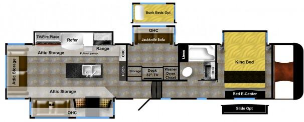 41GMD luxe gold luxury fifth wheel floor plan