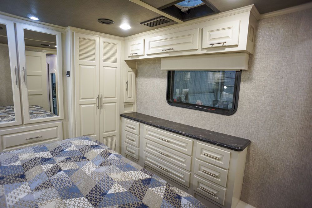 Luxury toy hauler bedroom storage