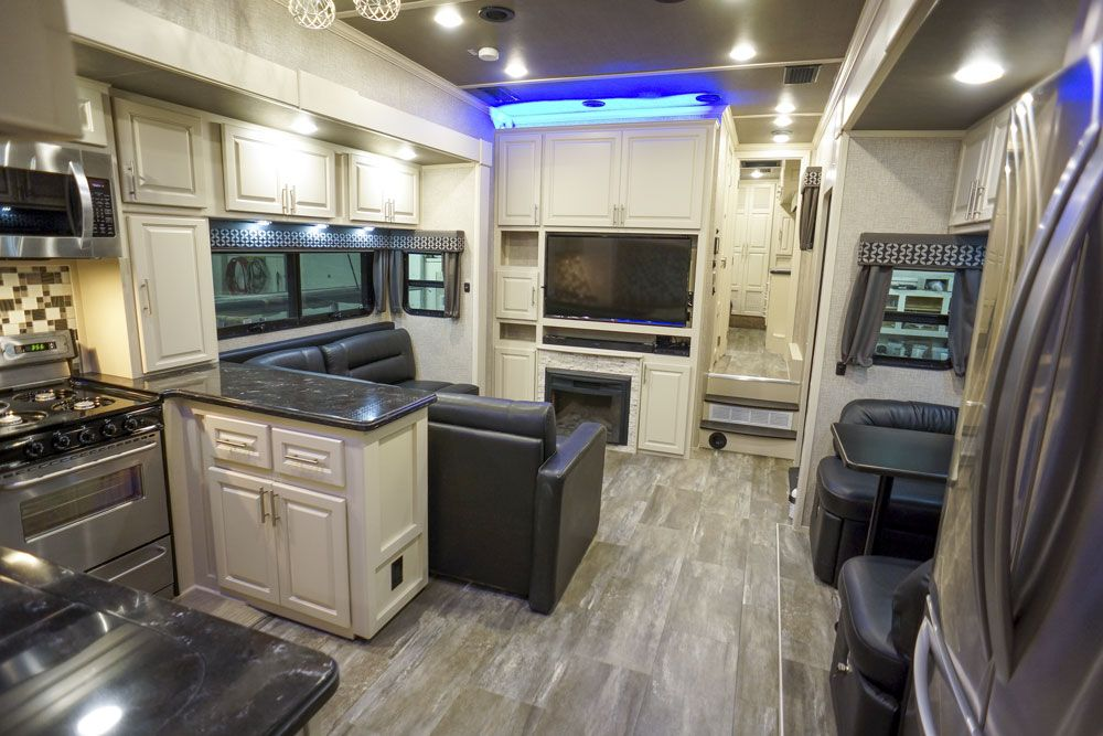 Luxury toy hauler kitchen living room entertainment center