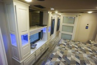 Luxe Elite 42MD luxury fifth wheel master bedroom entertainment