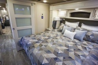 Luxe Elite 42MD luxury fifth wheel master bedroom