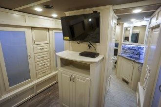 luxury fifth wheel bedroom TV