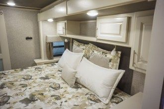 luxury 5th wheel master bedroom
